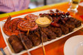 Mici and sausage Royalty Free Stock Photo