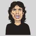 Mick Jagger Vector Portrait Illustration Caricature.