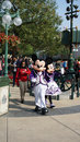 Mickey and minnie mouse in disneyland greeting guests at main street usa hong kong Stock Image