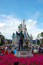 Mickey and walt statue of disney mouse in front of cinderella s castle in magic kingdom disneyworld florida Stock Image
