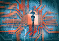 Micro chip conceptual image of circuit security concept Stock Photo