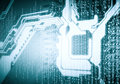 Micro circuit background image of with binary code Stock Photo
