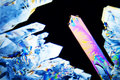 Micro crystals in polarized light Royalty Free Stock Images