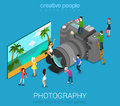Micro people and DSLR photo camera Royalty Free Stock Photo