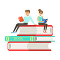 Micro young woman and man sitting on a pile of books, people enjoy reading vector Illustration