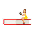 Micro young woman sitting on a giant book, girl enjoy reading vector Illustration