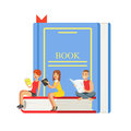 Micro young women and man sitting on a giant book, people enjoy reading vector Illustration