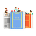 Micro young women and man sitting, lying on a giant books and newspaper, people enjoy reading vector Illustration