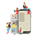 Micro young women and men sitting on a giant electronic book and newspaper, people enjoy reading vector Illustration