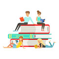 Micro young women and men sitting on a pile of books, people enjoy reading vector Illustration