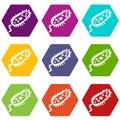 Microbe icons set 9 vector Royalty Free Stock Photo