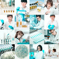 Microbiologists at work collage scientists in microbiological laboratory Stock Photo