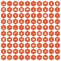 100 microbiology icons hexagon orange