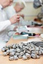 Microchip assembling manufacture technology process of device at Royalty Free Stock Photos