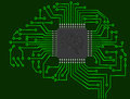 Microchip brain illustration of on electronics Royalty Free Stock Photos