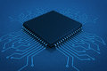 Microchip on circuit board in blue key Royalty Free Stock Photo