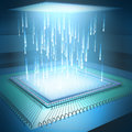 Microchip concept binary code moving to the central processing unit Stock Images