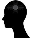 Microchip head illustration of with and circuit Royalty Free Stock Images