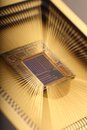 Microchip inside closeup with bounding pads Royalty Free Stock Photos
