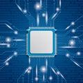 Microchip Processor Lights Royalty Free Stock Photo