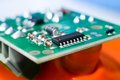 Microcircuit close up on blur background Stock Images