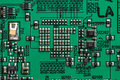 Microcircuit top macro view of green colored Royalty Free Stock Image