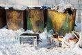 Microonda en el junkyard Fotografía de archivo libre de regalías