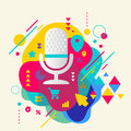 Microphone on abstract colorful spotted background with differen Royalty Free Stock Photo