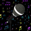 Microphone closeup with music notes shows songs or hits showing Stock Images