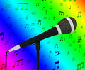 Microphone closeup with musical notes shows songs or hits showing Stock Image