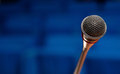 Microphone in conference hall close up of a Royalty Free Stock Image