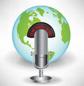 Microphone with earth globe global Royalty Free Stock Photo