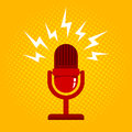 Microphone on halftone background