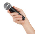Microphone hand isolated white background Royalty Free Stock Photo