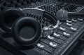 Microphone,headphone,sound mixer background. Royalty Free Stock Photo