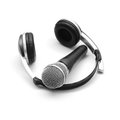 Microphone headphones white Stock Images