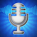 Microphone icon on a blue leather background hi res digitally generated image Stock Photos