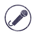 Microphone icon with halftone dots print texture. Royalty Free Stock Photo