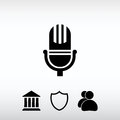 Microphone icon, vector illustration. Flat design style