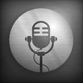 Microphone icons in gray retro icon and black color vector illustration Royalty Free Stock Photos