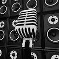 Microphone And Loud Speakers Shows Music Industry Royalty Free Stock Photo