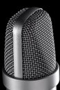 Microphone macro on the black background Stock Photos