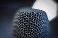 Microphone macro close up detail blue atmosphere Royalty Free Stock Photo