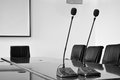 Microphone in meeting room close up of microphones Royalty Free Stock Photos