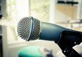 Microphone in music room close up of karaoke Royalty Free Stock Photography