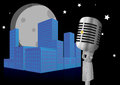 Microphone night illustration of with city Stock Photography