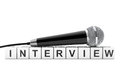 Microphone over Interview Cube Sign. 3d Rendering Royalty Free Stock Photo