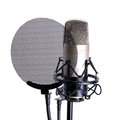 Microphone over white background isolated on Stock Photo