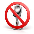 Microphone and prohibition sign clipping path included image with Royalty Free Stock Photo