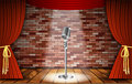 Microphone and red curtain Royalty Free Stock Photo